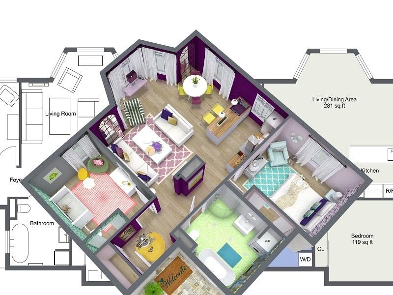 Interior design home design decorate home 3d floor plan